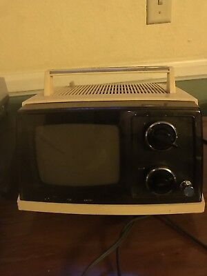 Mid Century Modern Sony Model TV-520 Portable Black and White Television