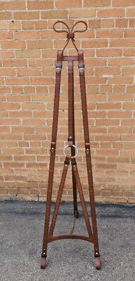 Hermes Style Wrought Iron Faux Leather Easel Equestrian Jacques Adnet 1960's