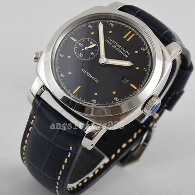 44mm black dial yellow marks seagull automatic date watch Parnis polished case