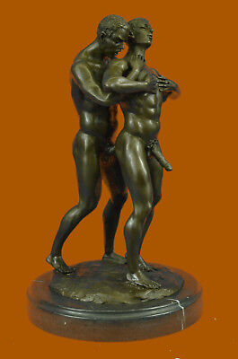 Gay Art Deco Two Men Male Embracing Hot Cast Hand Made Sculpture Figurine