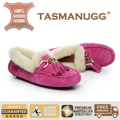 Tasman UGG -Flora Moccasin, Water-resist silky suede, Women/Ladies, Rose Cl