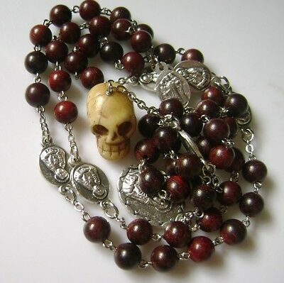 Rare Skull Fragrance Red Sandalwood Beads SEVEN SORROWS ROSARY NECKLACE CATHOLIC