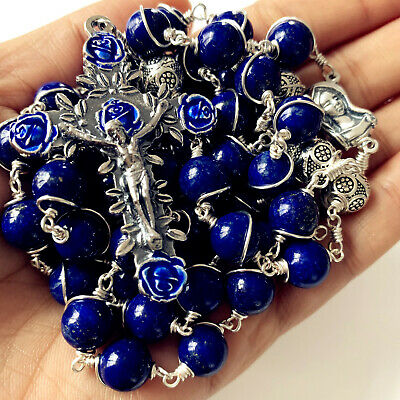 * Handmade Rosary Rlapis Lazuli Beads Sterling Silve Necklace Cross Necklace Box