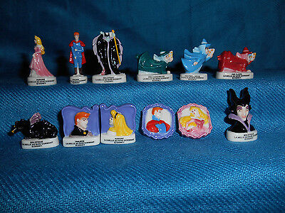 SLEEPING BEAUTY Set of 12 Mini Figurines French Porcelain FEVES DISNEY Figures