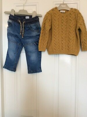 Next Boys 6 To 9 Months Cable Jumper And Jeans 6 - 9