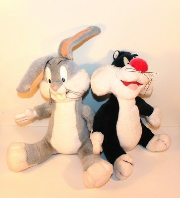 Looney Tunes BUGS BUNNY Hase KATER SYLVESTER Plüsch Stoff älter 26 cm AUSWAHL