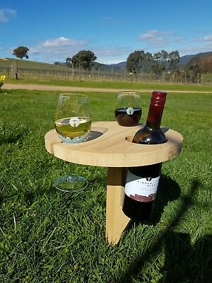 Folding Outdoor Wine and Glass Holder