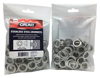 2x Grunt STAINLESS STEEL GROMMETS 50Pcs Webbing Accessory- 12mm, 17mm Or 22mm