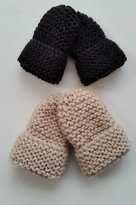 Baby Hand Knitted Mittens, 2 Pairs, Black & Beige, 0-3 Months, New