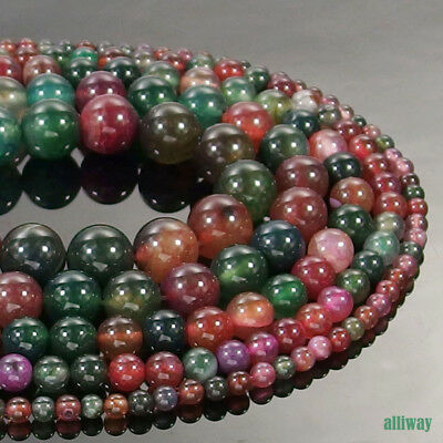 Multi Color Agate Gemstone Round Beads 15.5'' 4mm 6mm 8mm 10mm 12mm Jewelry DIY