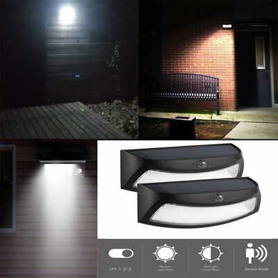2X 4LED Solar Power Light Outdoor Smiling Wall Lights Wireless Security Light