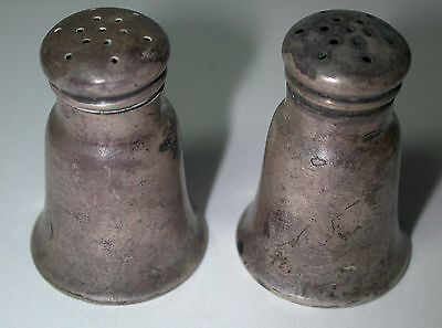Antique Vintage Sterling Silver Salt & Pepper Shakers Small Very Cute #X100