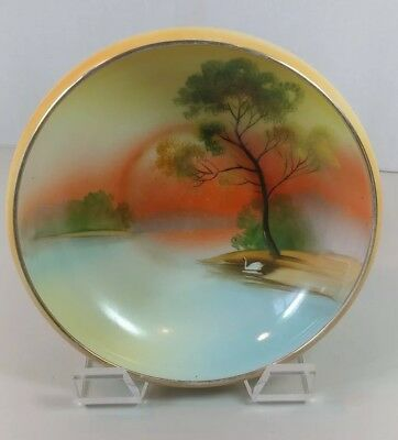 "Vintage Noritake M Japan Bowl Hand Painted House Lake Trees Art  8""x 3"" NICE!"