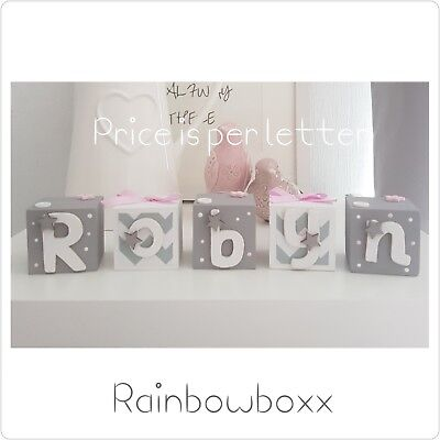 ☆Wooden hand painted personalised grey & white &a hint of pink name blocks/cubes