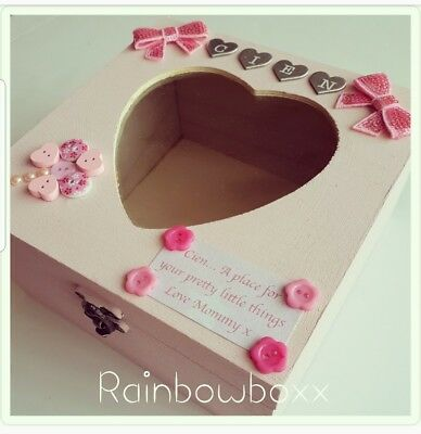 ♡ Pink Personalised wooden handpainted box/jewellery box. Add name & small msg ♡