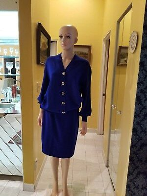 St. John  Collection By Marie Gray Santana Knit Royal Blue Skirt Suit ,size S/10