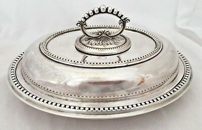Vintage Silver Plated Oval Entree Dish Serving Platter Antique Sheffield Beaded