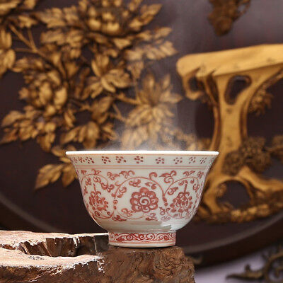 China Antique Porcelain Ming yongle Underglaze red double lions Hydrangea Cup