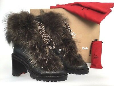 b7141c22bb0 CHRISTIAN LOUBOUTIN FANNY Genuine Fur Black Leather Boot 37/7