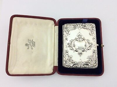 Antique Edwardian Cased Solid Silver Card Case Deakin & Francis 1904