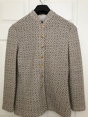 St. John Collection Marie Gray  Sz 8 Cream & Brown Santana Knit Jacket NWOT