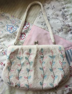 Beaded Antique White Pink & Blue Small Mini Handbag Bag Purse VTG