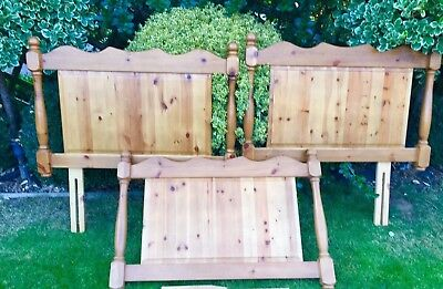 Solid  Antique Pine Single Bed Headboards- 2 Matching-V.Good Condition- (Cambs)