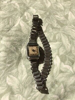 Vintage Ladies Square Faced White Metal ORTIS Wrist Watch Swiss Made