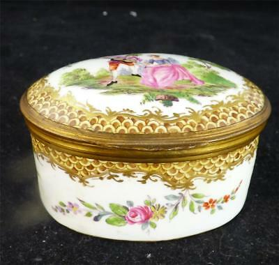 N790 Antique Hand Painted Dresden Porcelain Box Casket