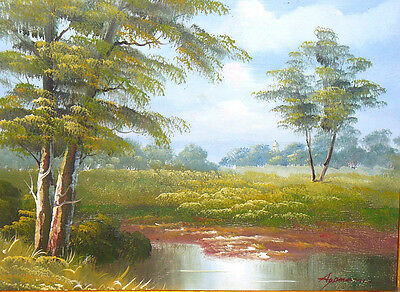 """FRAMED & SIGNED CONTEMPORARY OIL PAINTING ON CANVAS LAKE SCENE 19 1/2"""" x 16"""""""