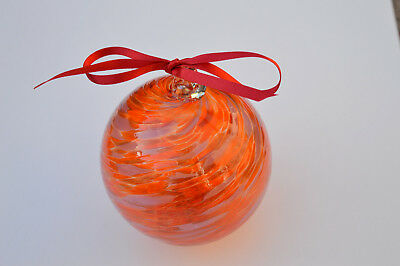 "10cm 4"" Friendship /Kugel / Witches Ball ""Red and Pink Swirl"""