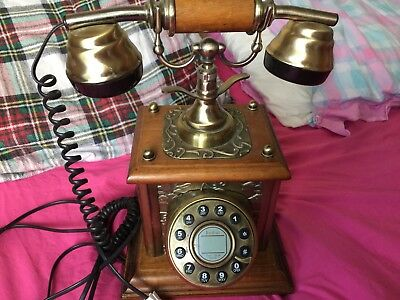 French Rotary Dial Wooden  Phone Vintage Antique Retro(Home Decor Classic GIFT)