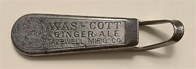 1910s Was-Cott Ginger Ale Tazewell Virginia G-Formed Style Bottle Opener G-5
