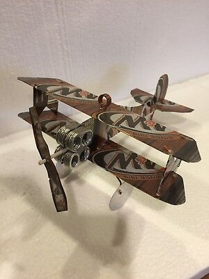 A&W Root beer Biplane HANDCRAFTED from Cans Art Aircraft Beer Plane