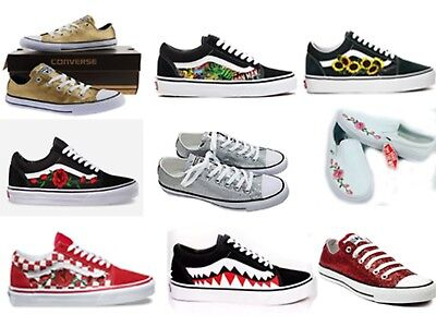 aa7e223e2fdb NEW CUSTOM VANS and Converse Shoes Red Rose