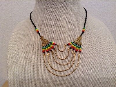 African-Arena Handmade Maasai Masai Brass Trade  Beads Jewelry Necklace AA634