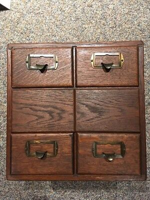 Antique Vintage Shaw Walker 6 drawer Card Catalog Oak Wood W/ Cool Joinery