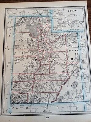 Antique Map Of Utah. - Printed In 1893 Showing Denver Railroad - Rock Port