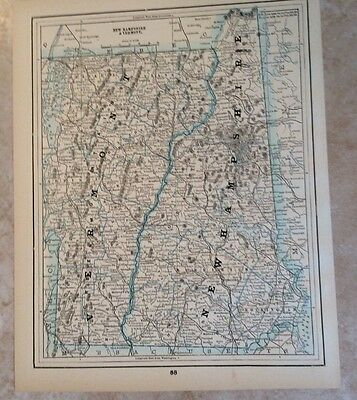 Antique Map Of New Hampshire And Vermont Showing Railroads---1893--