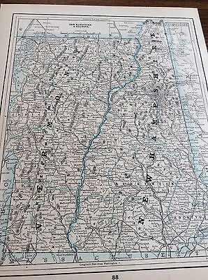 Antique Map Of New Hampshire & Vermont- Woodstock & Railroads - Printed In 1893