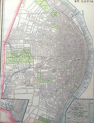Antique Map Of St. Louis, Mo.  Printed In 1889 - Quite Detailed