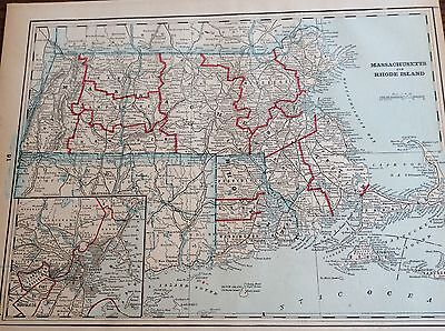 Antique Map Of Massachusetts & Rhode Island - Railroads - Light Houses -  1893