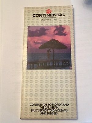 Continental Airlines System Timetable July 1 1989 Florida & Caribbean