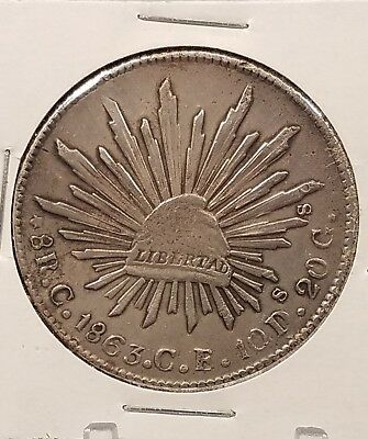 Scarce, Mexican Silver 8 Reales, 1863-Culiacan Mint. .903 Silver, KM #377.3