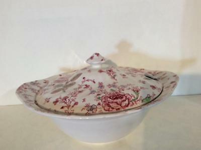 Johnson Brothers Rose Chintz Pink Covered Vegetable Green Mark Mint Condition