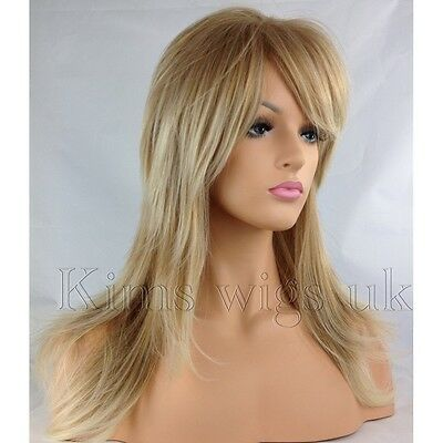 Full Womens Ladies Hair Wig 2 Tone Blonde Flick & Layered Long B95 Kims Wigs Uk