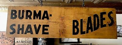 Wooden 1930's  Double Sided Country Store Burma Shave Blades Roadside Sign