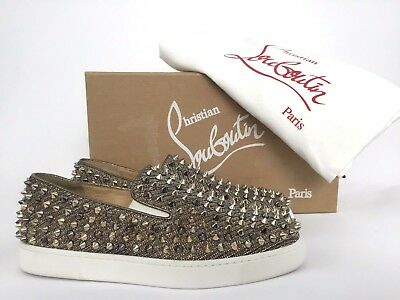 96754b38c22 $1295 CHRISTIAN LOUBOUTIN Roller Boat Spiked Slip-on Roche Sneakers 37.5/7.5