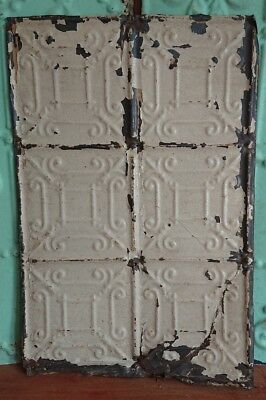 architectural antique salvaged American tin ceiling tile Ohio vintage long tall