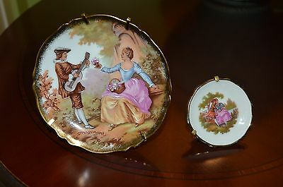 Limoges  Porcelain Decorative 2 Mini Plates Hand  Made In France New